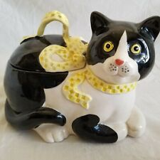 Vintage 1983 Fitz & Floyd Rare Ribbon Cat Covered Candy Dish Kitten