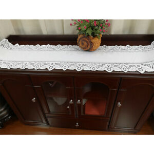 White Lace Table Runner Vintage Embroidered  Wedding Party Home Decor 180*33 cm