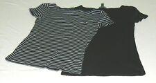 LOT OF 2 Lauren Ralph Lauren Womens Tops Sz,S 1 Navy Stripes 1 Black Cap Sleeves