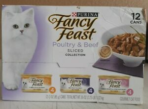 Purina Fancy Feast Poultry & Beef Gourmet Adult Cat Food 12 Can 03/22 DISTRESSED