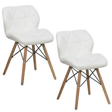 Set of 2 Dining Chairs PU Leather Armless Wood Legs Accent Side Chair White