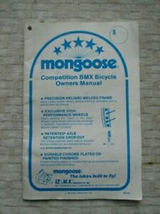 Mongoose Californian Bike Bicycle Owner Book Manual for Old School BMX Expert