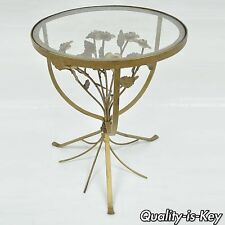 """17"""" Italian Floral Tole Metal Glass Small Round Accent Table Hollywood Regency"""