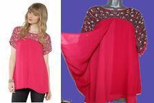 MONSOON Pink Nika Exclusive Sequined Sparkle Silky Top Kaftan MEDIUM  rrp £69