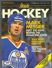 Mark Messier signed Edmonton Oilers 1988 Inside Hockey magazine cover Psa/Dna