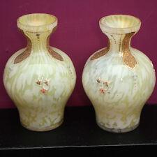 Pair of Antique Victorian MOSER 1890s enamelled gilded yellow 11cm splatter vase