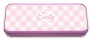 Personalised Pencil Tin Plaid Pencil Case Check Pink Name Custom Initials