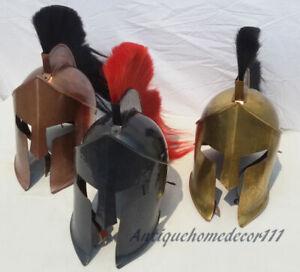Set of 3 Vintage Reenactment Medieval 300 Spartan Armor Helmet Replica Halloween