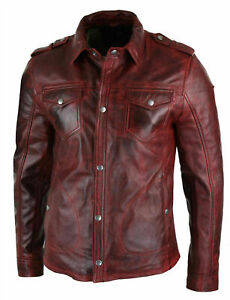 New Mens Shirt Jacket Burgundy Red Real Leather Soft Genuine Waxed Leather Shirt