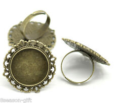 50PCs Bronze Tone Adjustable Round Cabochon Ring Settings 18.3mm US 8(Fit 20mm)