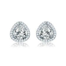 US Women Stylish New White CZ Stud Drop Earrings White Gold Filled Weeding Gift