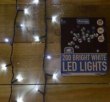 LED de 200 (14 M) estática al aire libre Luces Árbol De Navidad En Alambre Verde en blanco frío