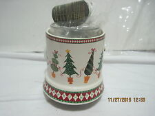 Small Votive Xmas Christmas Warming Burner Says Merry on Trees by Crazy Mountain