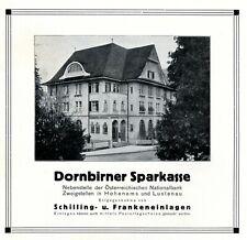 Sparkasse Dornbirn Reklame 1931 Österreich Bank Werbung