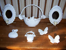 Burwood White Hobnail 7 Pc Set Wall Decor Mirrored Sconces Baskets Butterflies