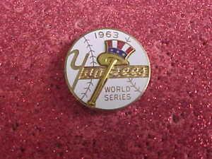 1963 New York NY Yankees World Series Press Media Pin - Los Angeles Dodgers