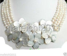 Jewelry 4 row REAL freshwater Cultured White pearl flower shell Necklace