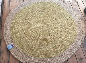 120x120cm Jute Circle Pale Lime Rustic Cottage Braided circular rugs
