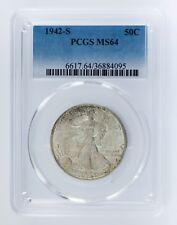 1942-S 50C Walking Liberty Half Dollar Graded by PCGS as MS64! Gorgeous Walker!