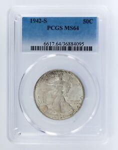1942-S 50C Walking Liberty Half Dollar Graded by PCGS as MS64! Gorgeous Walker!