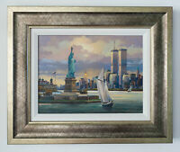 Statue of Liberty Original Signed Framed Oil on Canvas Painting | Free Shipping