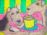 Airedale Terrier Drinking Coffee Pop Art Print 8x10 Dog Collectible Artist KSams