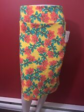 LULAROE Women's Bright Yellow Floral Super Stretchy Skirt - Size XL - NWT