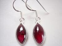 Garnet Marquise 925 Sterling Silver Dangle Earrings Corona Sun Jewelry