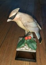 Cardinal bird statue Perched On Branch with Holly Leaf & Berries Intricate Rare