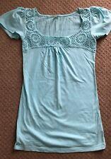 DENIM & CO Ladies Turquoise Short Sleeve Top/T Shirt Size 8