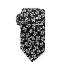 Bar III Mens Graham Floral Skinny Neck Tie (Black, One Size)
