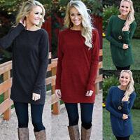 Womens Winter Knitted Sweater Tops Pullover Knitwear Mini Jumper Dress Plus Size