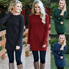 UK Womens Long Sleeve Pullover Tops Ladies Knitted Mini Jumper Dress Plus Size