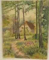Haus mit Schwertlilien Original G. Hammer Aquarell Gemälde Impressionismus Kunst