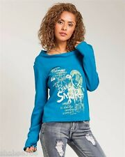 New Teal Blue Long Sleeves TOP Sexy Shirt Blouse Printed Juniors S M L XL