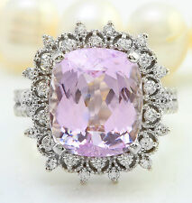 6.80CTW Natural Pink Kunzite and Diamond in 14K Solid White Gold Women Ring