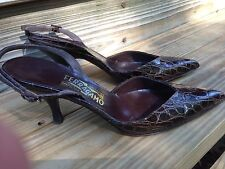 Salvatore Ferragamo Brown Croc Embossed Leather Pumps sling back shoes Size 8 AA