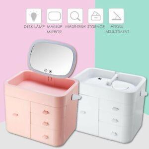 LED Makeup Mirror Storage Box 10X Magnifying Folding Cosmetic Organizer  v SU