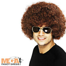 1970s Brown Afro Wig Adults Fancy Dress 70s Funky Mens Ladies Costume Accessory