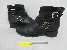 STEVE MADDEN TIARRAA Black Leather Zip Ankle Boots Size 7.5 M