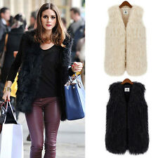 Women Faux Fur Long Hair Shaggy Furry Vest Outerwear Jacket Waistcoat Gilet Tops