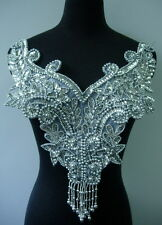 BD16 Fringed Sequin Bead Applique Silver Floral BodiceTutu/Belly Dance/Samba