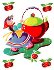 Vintage Image Retro Kitchen Girl Teapot Strawberries Waterslide Decals Ki393