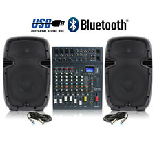 Active DJ Speakers and Studiomaster 8-Ch Bluetooth USB Mixer 800W Disco Party