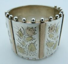 Victorian Silver & Rose & Yellow Gold Napkin Ring - Bracelet Flowers Bangle 2/2