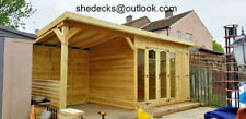 SUMMERHOUSE WITH SHED & VERANDA T&G HEAVY DUTY SUMMER HOUSE GAZEBO HOT TUBE