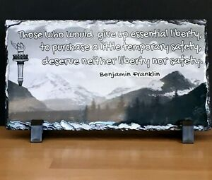 Art Slate/Stone, Ben Franklin Quote Liberty for Security w/black plastic stand
