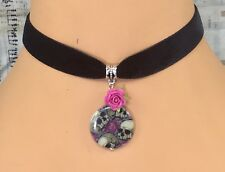 Black Velvet Choker Necklace Skull Rose Shell Pendant Goth Punk Tattoo Emo