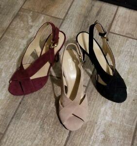 New Michael Kors mid flex heel Leather MK BECKY suede Black Red Tan sandals shoe