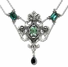 Alchemy Gothic Queen of the Night Pewter Green Crystal Pendant Necklace P503